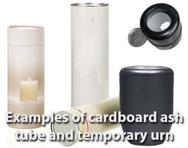 Cardboard tube | plastic temporary urn (ash container)